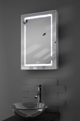 Filia digital clock demister bathroom cabinet