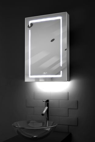 Filia clock LED bathroom cabinet with colour change under lighting