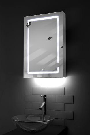 Filia digital clock LED bathroom cabinet with ambient under lighting