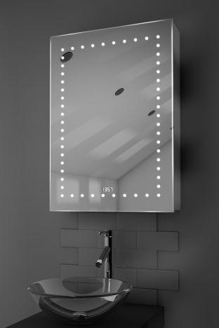 Lana digital clock LED bathroom cabinet with Bluetooth audio