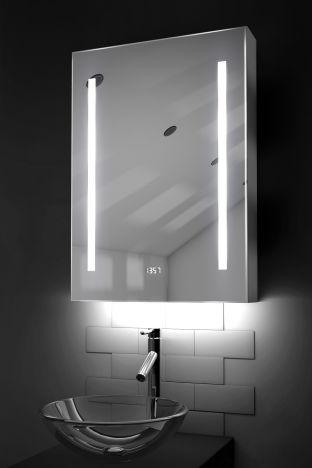 Jace digital clock LED bathroom cabinet with ambient under lighting