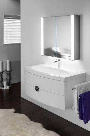 Aura 400 LED bathroom cabinet with Bluetooth audio & ambient under lights