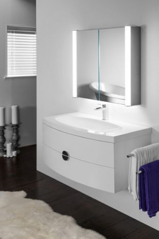 Aura 400 LED bathroom cabinet with colour change under lighting