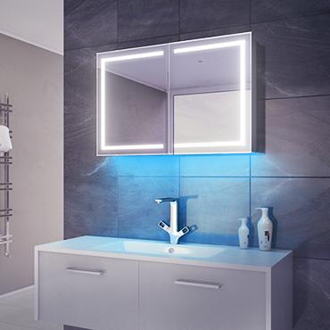 Illuminated bathroom cabinets